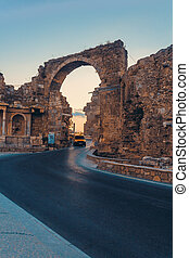 Road through the portal - Road through the ancient portal in...