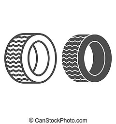 Road tire line and glyph icon. Auto wheel vector illustration isolated on white. Car part outline style design, designed for web and app. Eps 10.