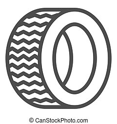 Road tire line icon. Auto wheel vector illustration isolated on white. Car part outline style design, designed for web and app. Eps 10.