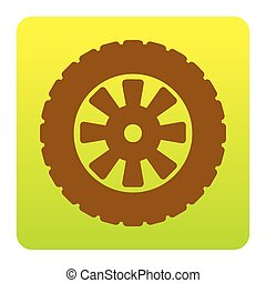 Road tire sign. Vector. Brown icon at green-yellow gradient square with rounded corners on white background. Isolated.