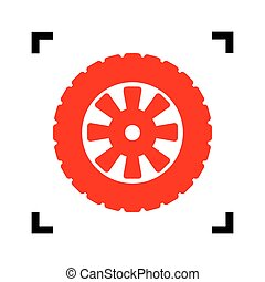 Road tire sign. Vector. Red icon inside black focus corners on white background. Isolated.