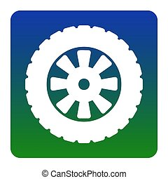Road tire sign. Vector. White icon at green-blue gradient square with rounded corners on white background. Isolated.