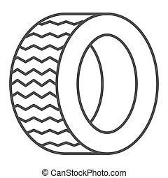 Road tire thin line icon. Auto wheel vector illustration isolated on white. Car part outline style design, designed for web and app. Eps 10.