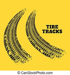 road tire track prints on yellow background