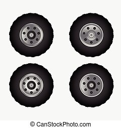 Road tires with wheel vector illustration design.
