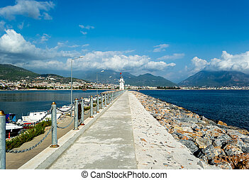 Road to a lighthouse in the city of Alanya, Turkey.