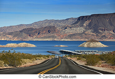 Lake Mead recreation area - Road to boat launch area in Lake...