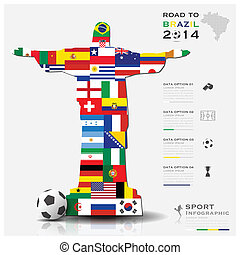 Road To Brazil 2014 Football Tournament Sport Infographic...