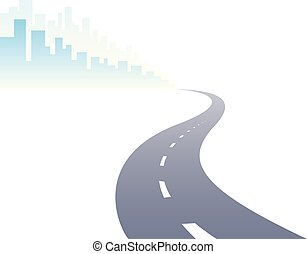 Road to city curved highway vector perfect design illustration. Big skyscrapers way to the capital, tourism and travel theme. Can be used as a road banner or billboard with copy space for text.