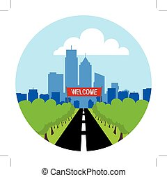 road to city landscape with welcome sign