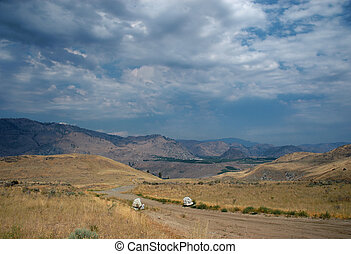 Road to Columbia plateau - Columbia plateau surrounded by...