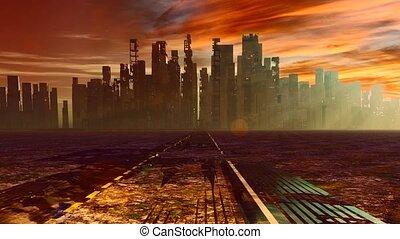 Apocalyptic landscape - Road to desolate city. Apocalyptic ...
