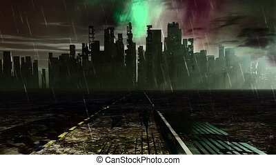Road to desolate city. Apocalyptic landscape