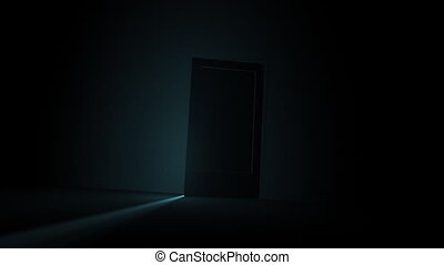 A door opening to shining light Entry into the door