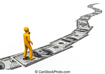 road to fortune - a man walking on 100 dollars bills