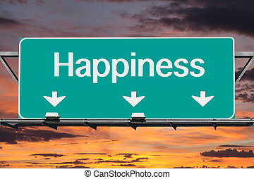 Road to happiness Freeway Sign