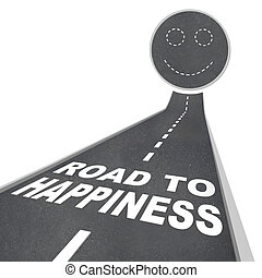 Road to Happiness - Smiling Face in Street Pavement