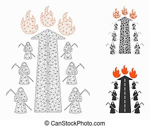 Road to Hell Fire Vector Mesh 2D Model and Triangle Mosaic Icon