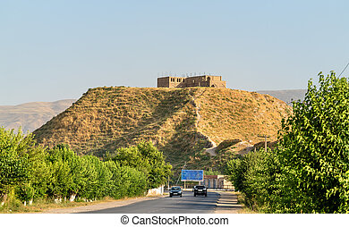 Road to Hisor Fortress in Tajikistan - View of Hisor...
