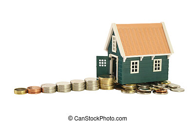 Savings - the road to homeownership. Stairs made of money leading to a house - isolated (clipping path)