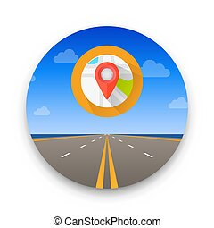 Road to infinity, Road vector highway, Vector illustration, Road sky background.