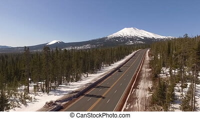 Road to Mount Bachelor Oregon Stratovolcano Cascade Volcanic...