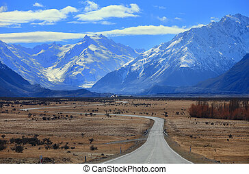 Road to Mount Cook, Southland, New Zealand
