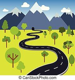 Road to mountain tunnel vector illustration