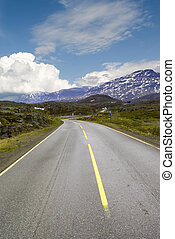 Road to mountains of Norway over pass Bjornfild