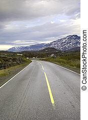 Road to mountains of Norway. Pass Bjornfild.