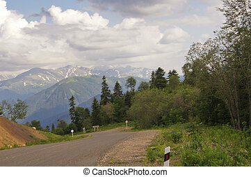 Road to mountains of the Caucasian reserve