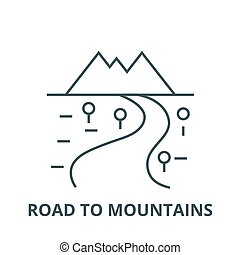 Road to mountains vector line icon, linear concept, outline sign, symbol
