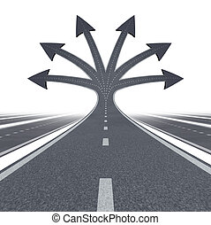 Road to opportunity and career choices as a business or education symbol of choosing the best path and options for life success in the future as multiple streets and highways in three dimensional shape on white.
