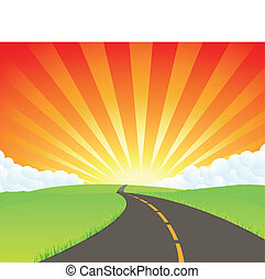 Road To Paradise - Illustration of a cartoon road in summer...
