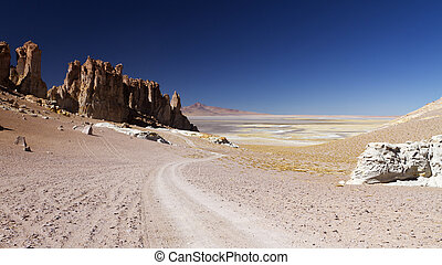 road to remote lake in the Andes