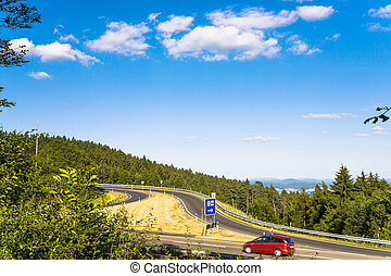 road to resting area on Autobahn A5 in Germany