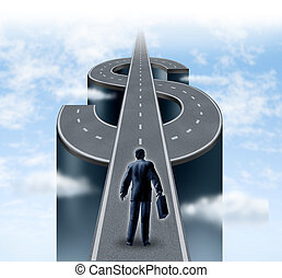 Road to riches as a business man entrepreneur starting on a path shaped as a dollar sign that represents the financial concept of wealth and financial success on a cloudy sky with planning and savings strategy.