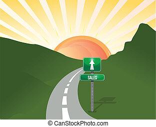 road to sales landscape background illustration