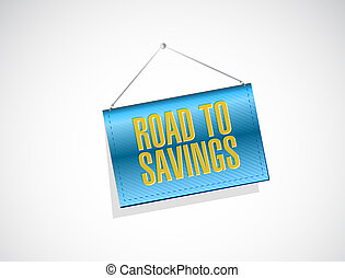 road to savings banner sign illustration