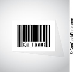 road to savings barcode, upc sign