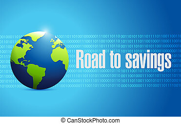 road to savings globe sign illustration