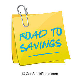 road to savings post memo sign