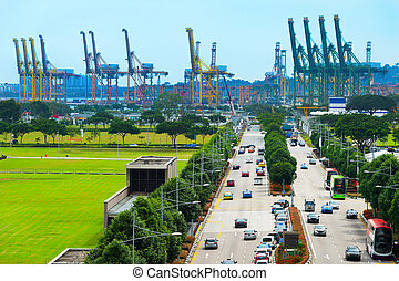 Road to Singapore industrial port