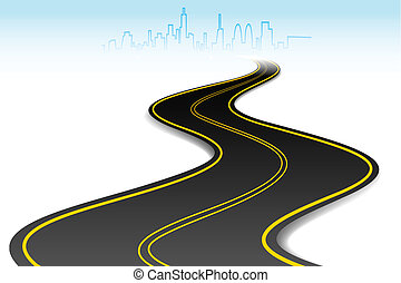 Initiative begin journey highway curves to success. Person ...