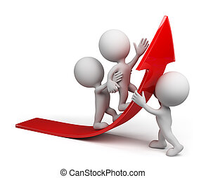 Road to success - Team moves up on the red arrow.3d image. ...