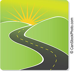 Road to sun vector stock