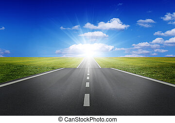 road to the bright sunrise