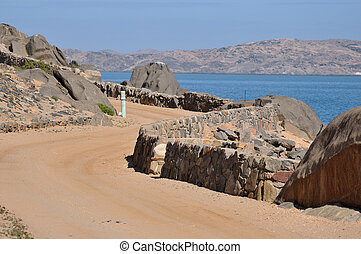 Road to the camp site on Shark Island, Luderitz