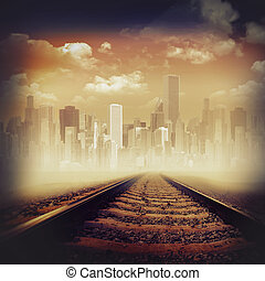 Road to the city. Abstract transportation backgrounds