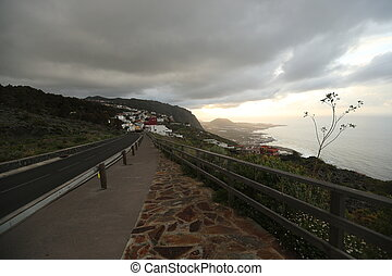 Road to the city in Canary Islands - Asphalt road, clear ...